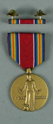 Facsimile US First Marines Victory in World War Two medal and bar, associated with the military occupation of the MCG; Trophies and awards; M15914
