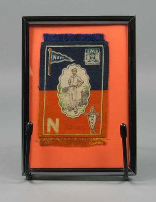 Flannel patch, depicts tennis player c1914