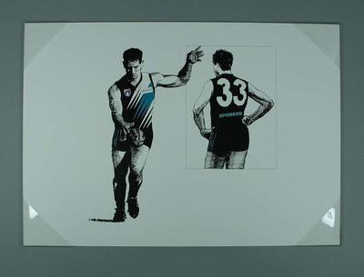 Print of Port Adelaide footballer in Club's 'Away' guernsey; Artwork; 2006.4419.8
