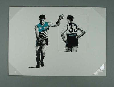 Print of Port Adelaide footballer in Club's 'Home' guernsey; Artwork; 2006.4419.9