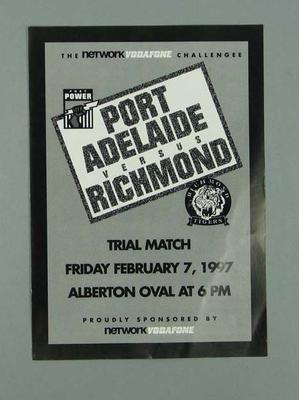 Leaflet listing players Port Adelaide FC v Richmond FC on 7 February 1997