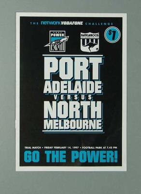 Leaflet listing players Port Adelaide FC v North Melbourne FC on 14/2/97