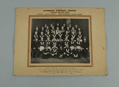 Photograph of Victorian Football League team, Adelaide 2 July 1938; Photography; 1997.3283