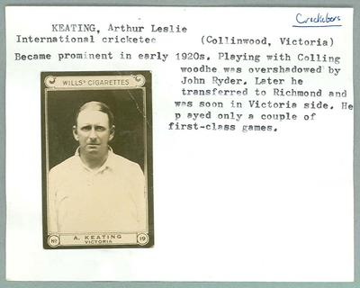 Trade card featuring James Keating, Wills Cigarettes c1930s