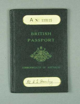 Passport, issued to Les Harley in 1936
