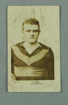 1922 Magpie Cigarettes Portraits of our Leading Footballers Barney Carr trade card; Documents and books; 1987.1491.16