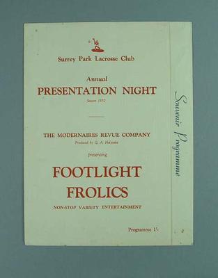 Programme, Surrey Park Lacrosse Club Annual Presentation Night Season 1952