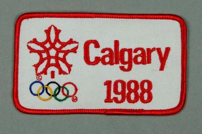 Patch/badge - 'Calgary 1988' Winter Olympic Games; Clothing or accessories; 2004.4140.43
