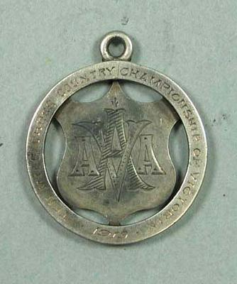 Ten Mile Cross Country Championship of Victoria medal awarded to R Kieren, 1919