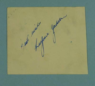 Page of autographs from various  sporting personalities, c1953