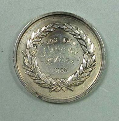 VRA Affiliated Clubs medal awarded to J Vivian, 1908
