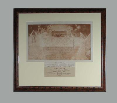 Olympic diploma awarded to Edwin Flack for 800m race, 1896 Olympic Games