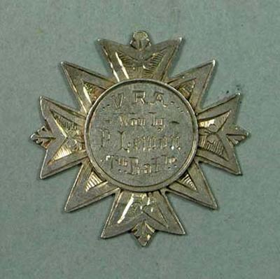 VRA Carlton State School 112 Volley Firing medal awarded to P Lemon, 1886; Trophies and awards; 2006.5225.21