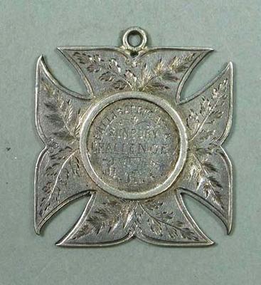 MRC Ballarat Regatta Sunbury Challenge Fours medal awarded to Claud Gant, 1886