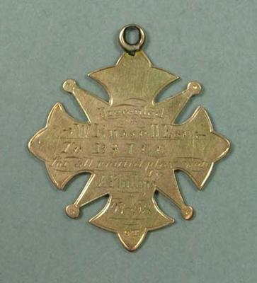 BSJCC All Round Player medal awarded to A Phillips, 1897-98