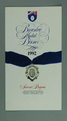 Programme, 1992 Brownlow Medal Dinner