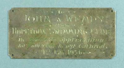 Trophy plaque - 'To John and Wendy from Hopetoun Swimming Club' 21 Jan 1956
