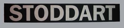 Replica MCG scoreboard banner, printed 'STODDART'; Sporting equipment; Framed; M15959