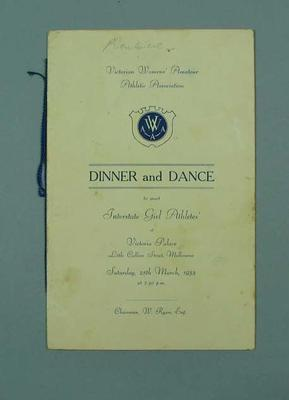 Programme for VWAAA Dinner and Dance, 25 March 1933