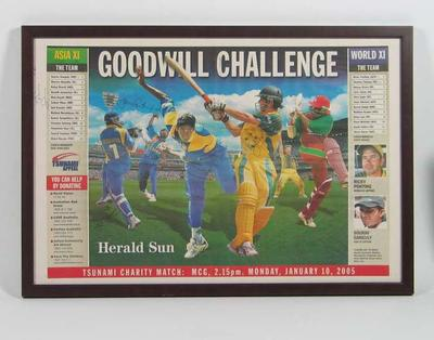 Framed newspaper clipping, advertising Tsunami Charity Match held at the MCG on 10 January 2005