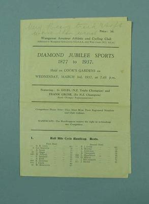 Programme for Wanganui Diamond Jubilee Sports, 3 March 1937; Documents and books; 1992.2699.12