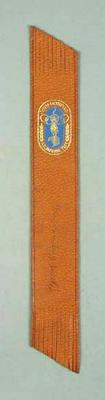 Leather bookmark, 1956 Melbourne Olympic Games