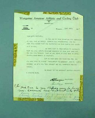 Letter to Phyllis Cantwell from Wanganui Amateur Athletic & Cycling Club, 1937