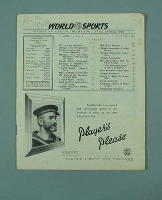 """Magazine, """"World Sports"""" vol 14 no 8 August 1948; Documents and books; 1992.2699.18"""