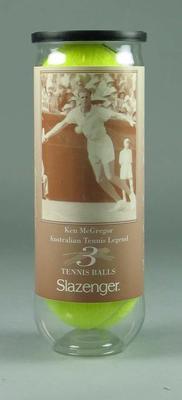 Commemorative tennis ball tube, Ken McGregor - Australian Tennis Hall of Fame