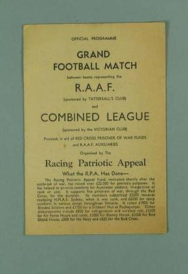 Programme, RAAF v Combined League football match