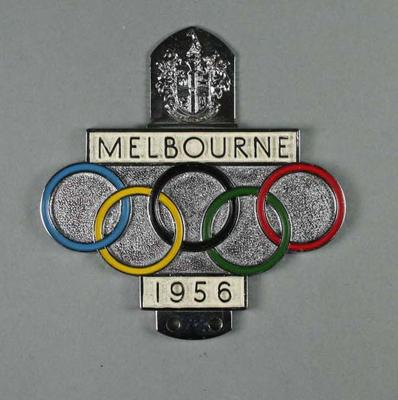 Car Badge - 1956 Melbourne Olympic Games Automobile Badge belonging to Col. James A. Chapman