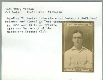 Trade card featuring Vernon Ransford, Wills Cigarettes c1930s