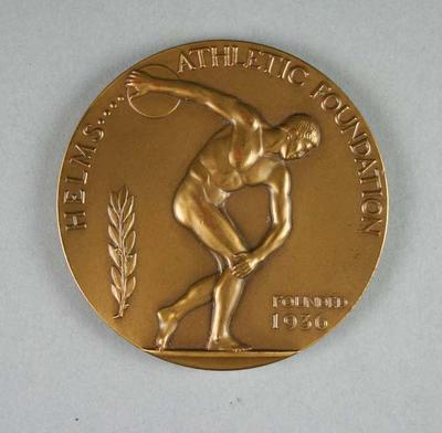 Bronze medal awarded to Frank Beaurepaire by the Helms Athletic Foundation