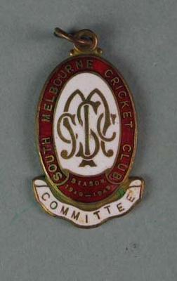 Committee medallion, South Melbourne Cricket Club - season 1948/49; Trophies and awards; 1988.1904.38