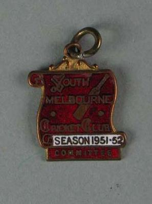 Committee medallion, South Melbourne Cricket Club - season 1951/52; Trophies and awards; 1988.1904.42