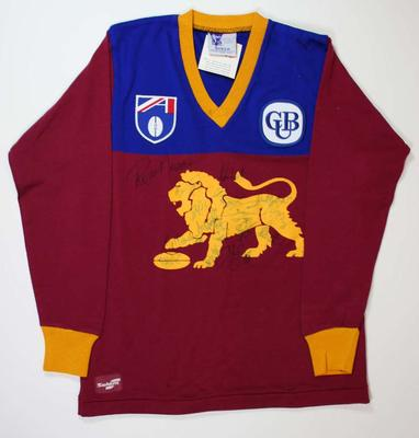 Brisbane Lions guernsey signed by team members, c. 1997