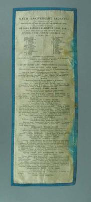 Silk programme for Hobart Regatta, 1 Dec 1843