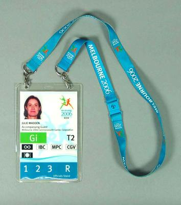 Accreditation for 2006 Commonwealth Games, issued to Julie Madden