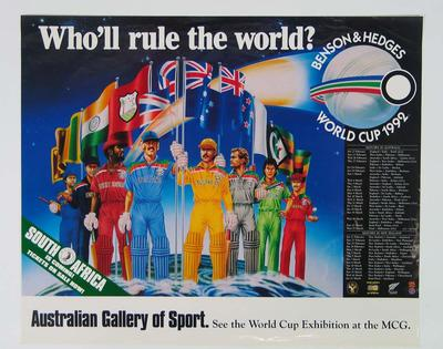 Poster, 1992 Cricket World Cup & AGOS World Cup Exhibition