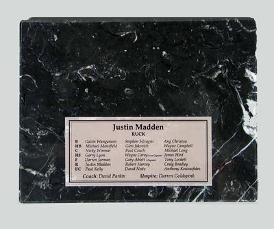 Plaque presented to Justin Madden, 1995 AFL All-Australian team; Trophies and awards; 2006.5181.21