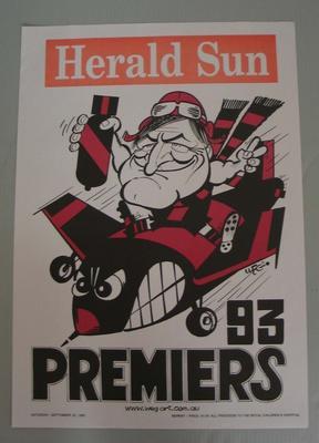 Poster -  Essendon Premiers 1993 Grand Final, cartoonist WEG