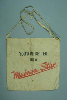 """Cotton bag, """"You'd be better on a Malvern Star""""; Personal effects; 2006.5341"""