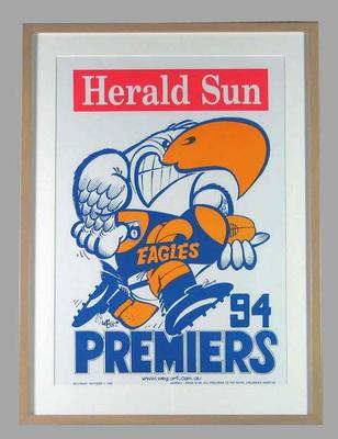 Poster -  West Coast Eagles Premiers 1994 Grand Final, cartoonist WEG; Documents and books; 2007.12