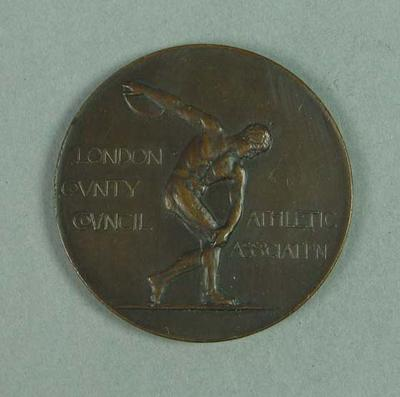 Copper medallion souvenir of the 1910 LCCAA Gala, presented to Frank Beaurepaire