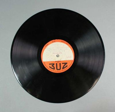 Vinyl record, 3UZ broadcast of Williamstown FC v Camberwell FC - Launceston, 1946; Audio-Visual; 1997.3308