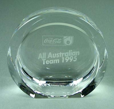 Trophy presented to Justin Madden, 1995 AFL All-Australian team