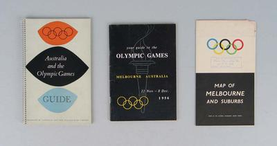 Two guide books and a map, 1956 Melbourne Olympic Games