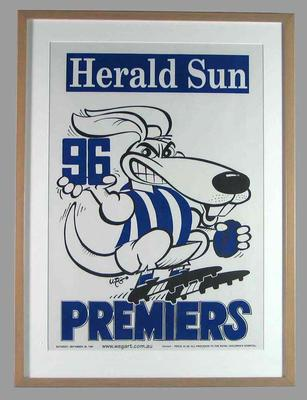 Poster -  North Melbourne Premiers 1996 Grand Final, cartoonist WEG; Documents and books; 2007.14