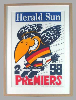 Poster -  Adelaide Crows Premiers 1998 Grand Final, cartoonist WEG