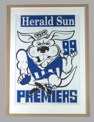Poster -  North Melbourne Premiers 1999 Grand Final, cartoonist WEG; Documents and books; 2007.17